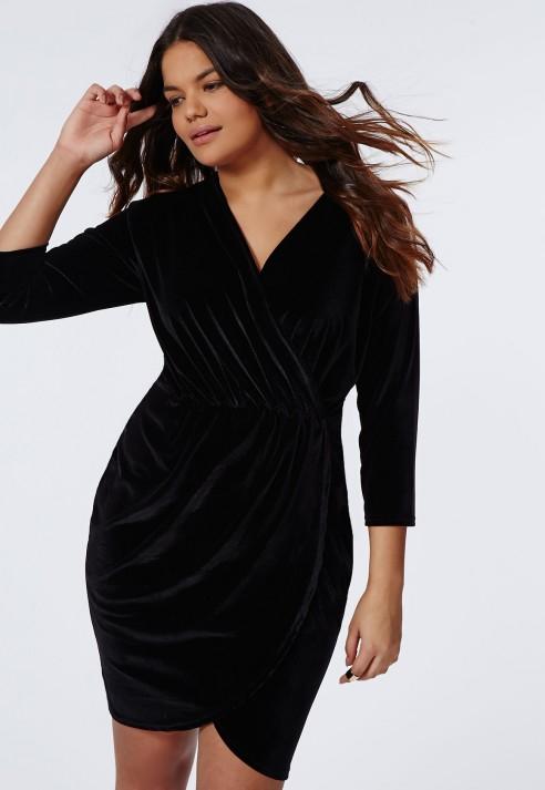 Lyst - Missguided Plus Size Velvet Wrap Dress Black in Black 76569e72fd29