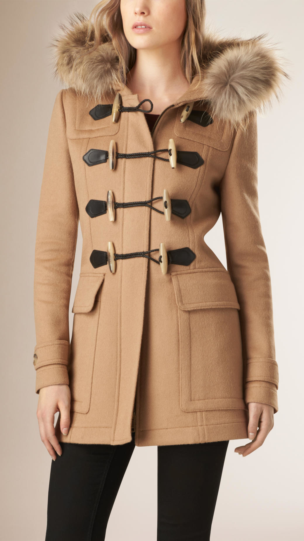 Burberry Blackwell Detachable Fur Trim Wool Duffle Coat Camel in ...