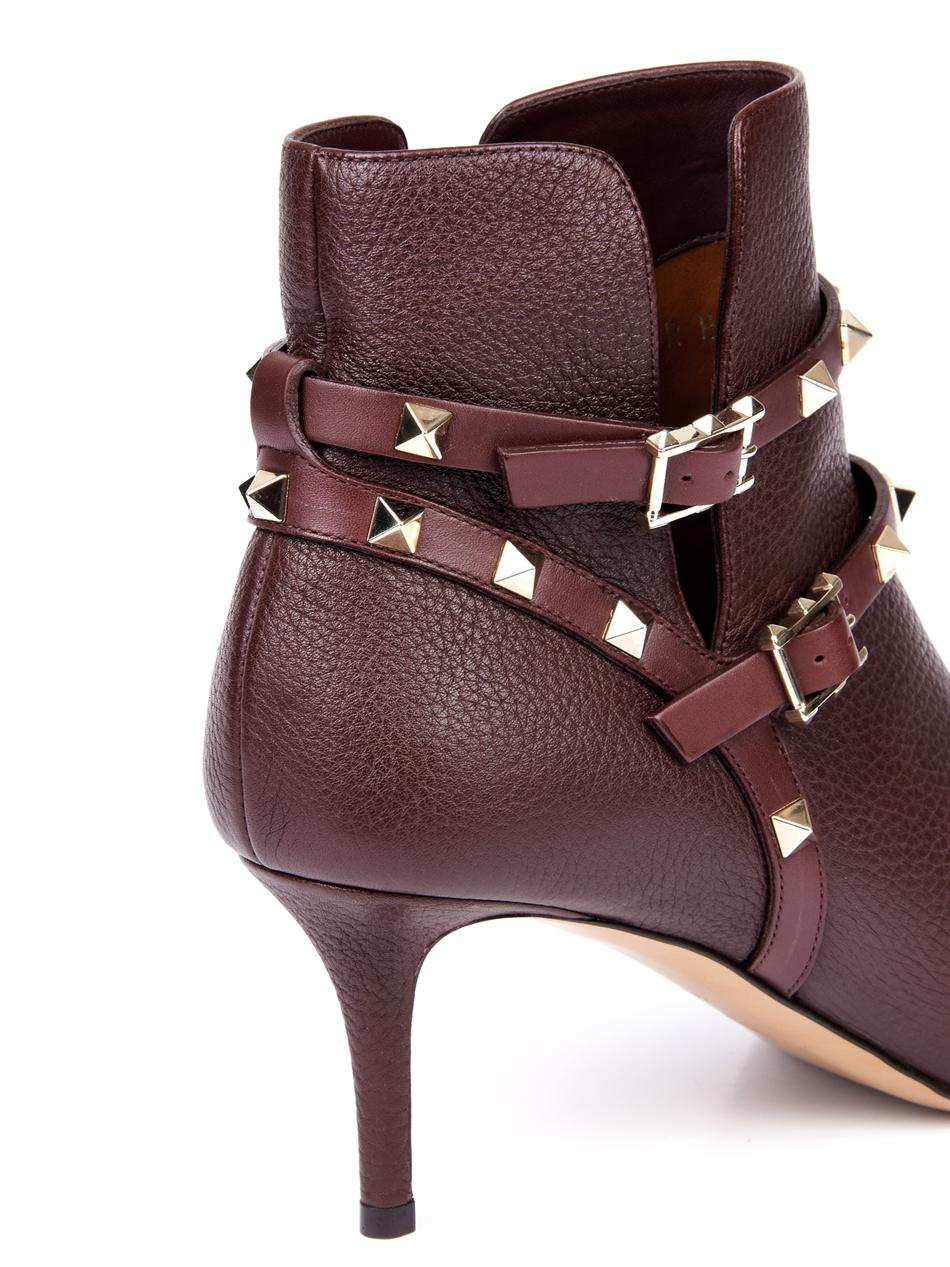 Valentino Rockstud Harness Ankle Boot In Purple Lyst