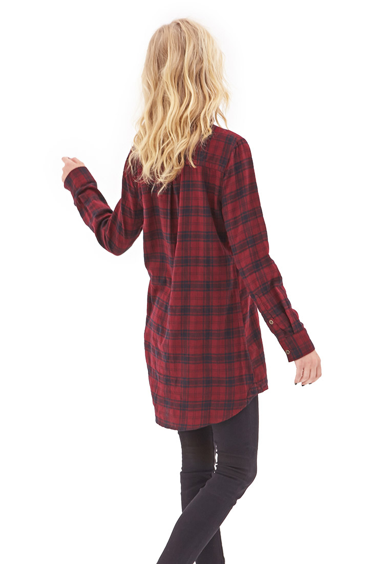Forever 21 Plaid Flannel Shirt Dress In Burgundy Black