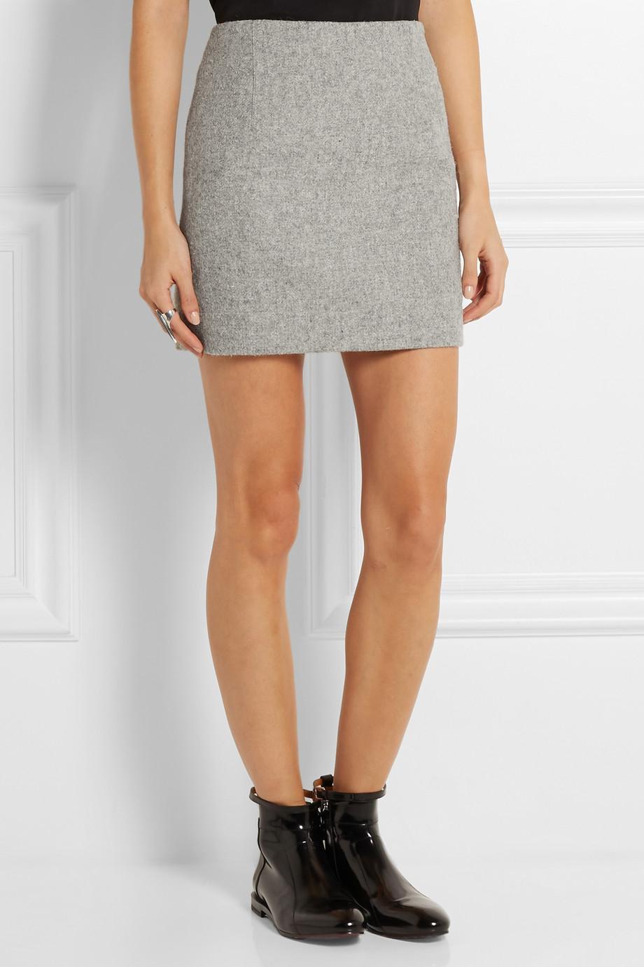 Atto Wool Mini Skirt in Gray | Lyst