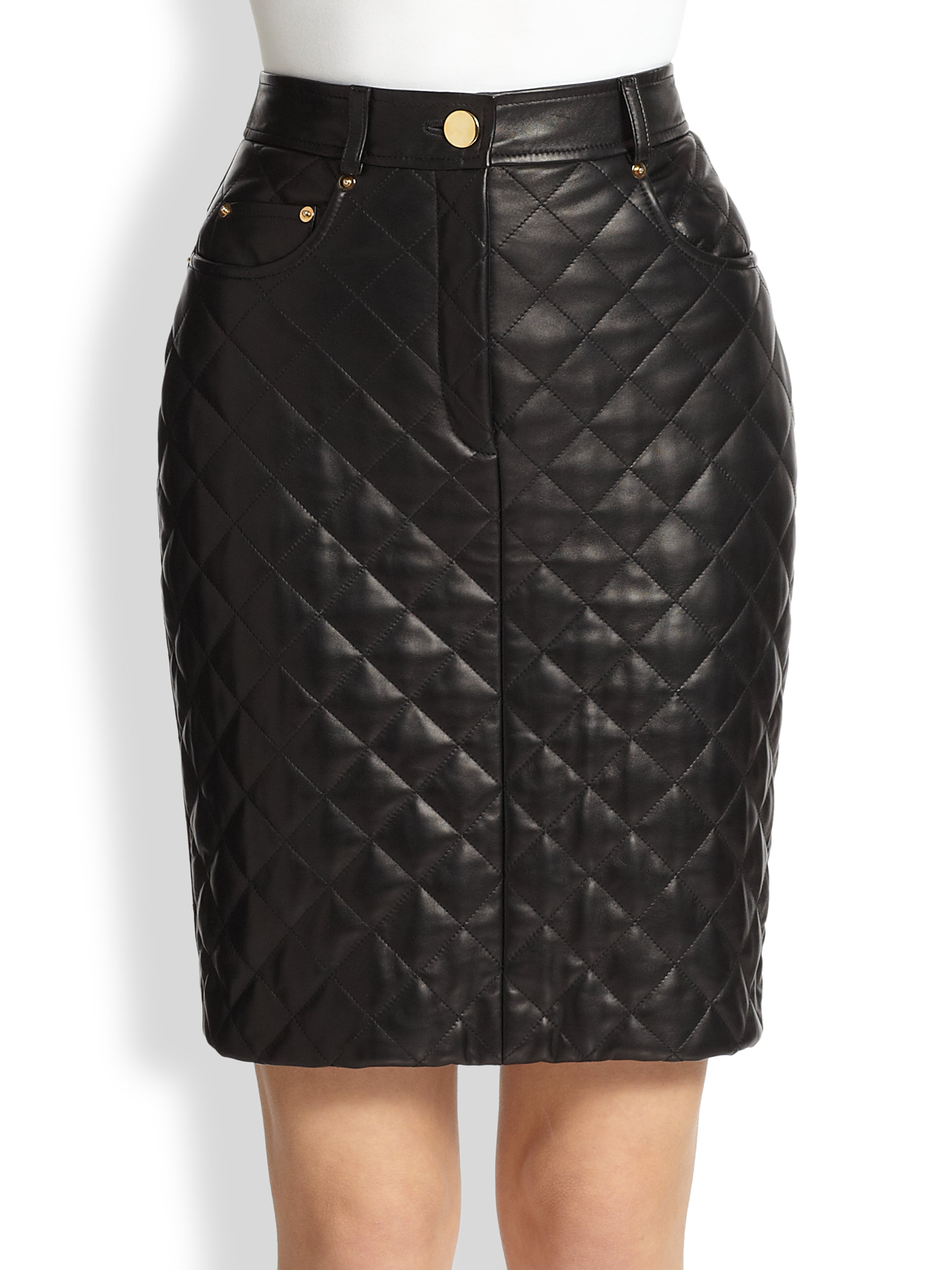 moschino quilted leather pencil skirt in black lyst