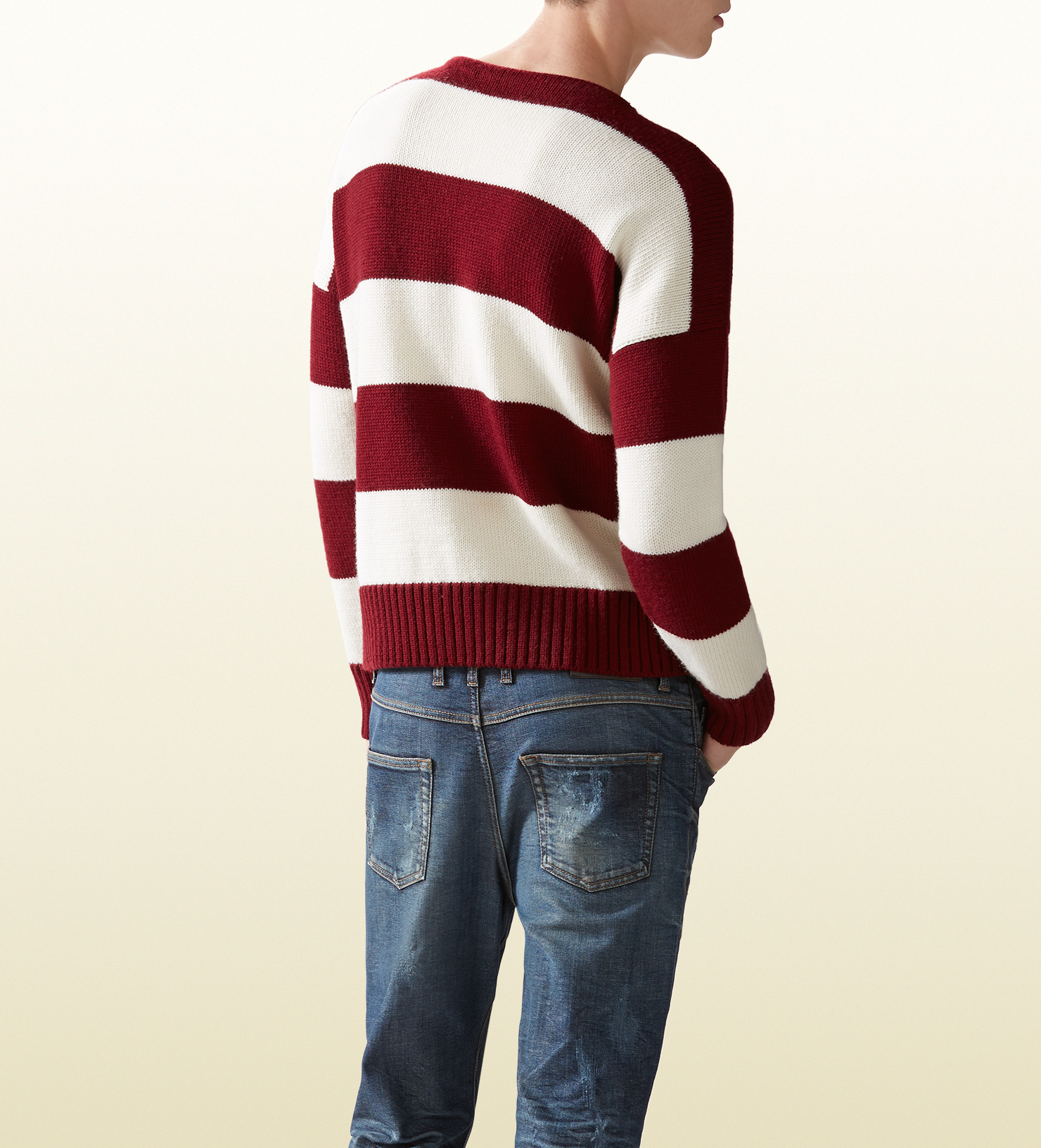 1c67dff268 Gucci Red Striped Wool Cotton Sweater for men