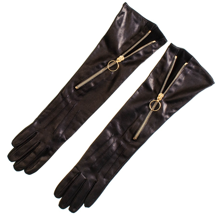 Black.co.uk Long Black Leather Gloves With Diagonal Zip in ...