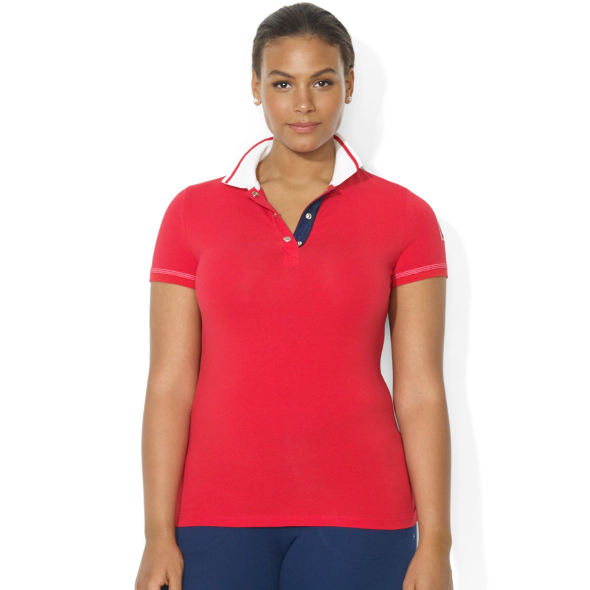 lyst lauren by ralph lauren plus size shortsleeve nautical polo shirt in red. Black Bedroom Furniture Sets. Home Design Ideas