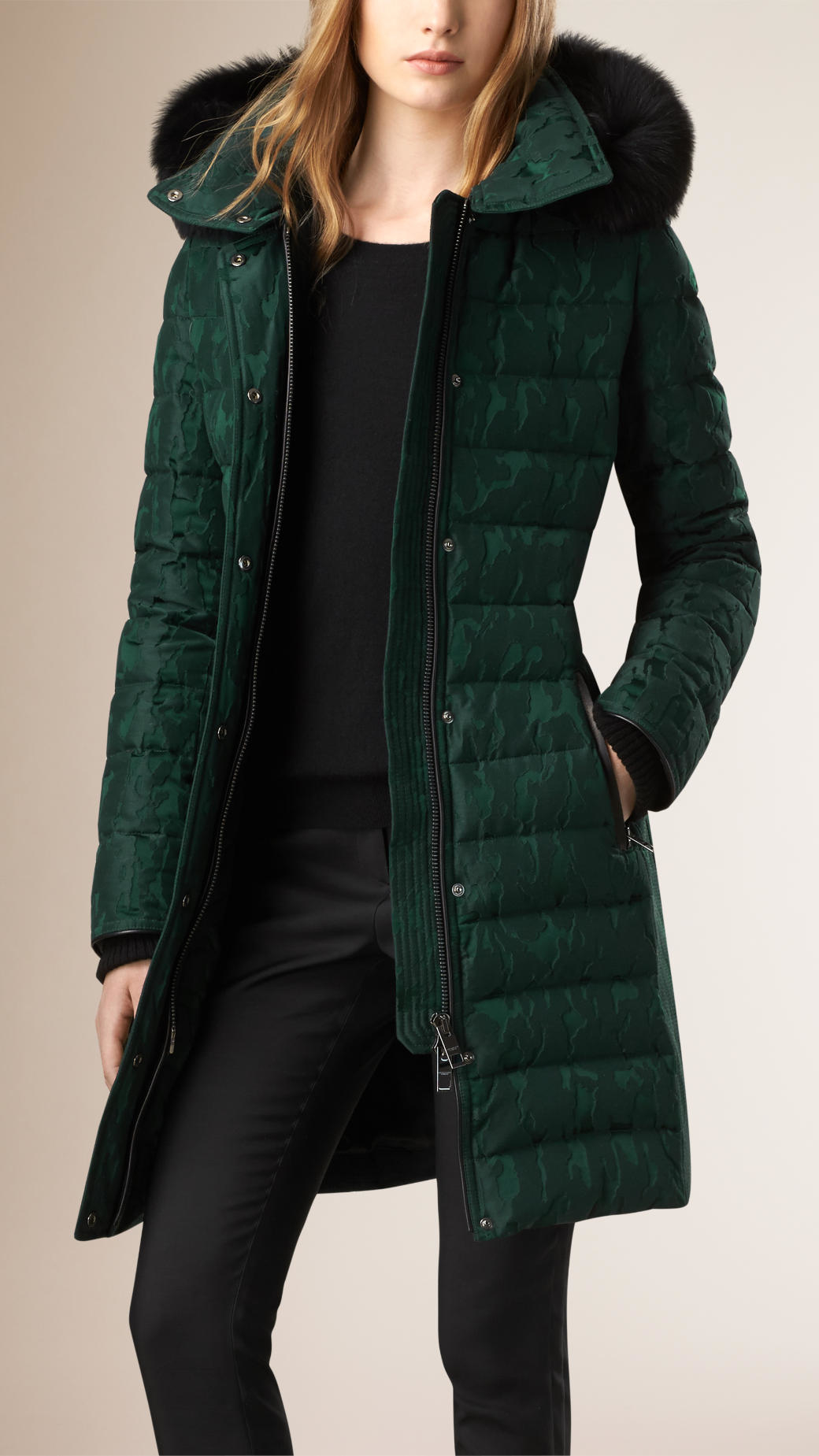 Lyst Burberry Down Filled Shell Puffer Coat In Green
