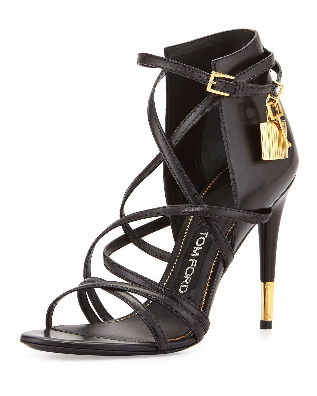 lyst tom ford leather ankle wrap padlock sandals in metallic. Black Bedroom Furniture Sets. Home Design Ideas