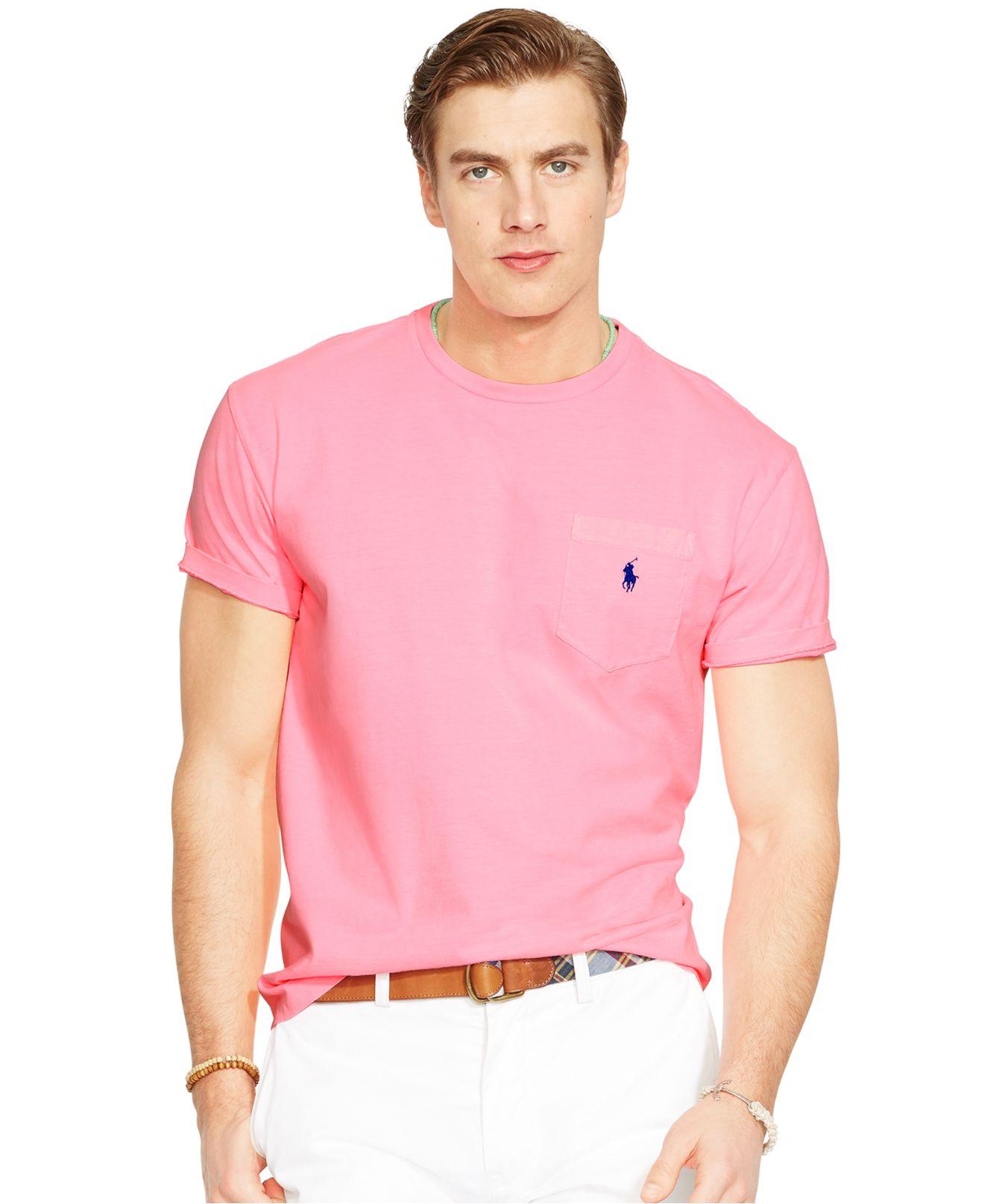 2438dceec673 Lyst - Polo Ralph Lauren Classic-fit Neon Jersey Pocket Crew-neck T ...