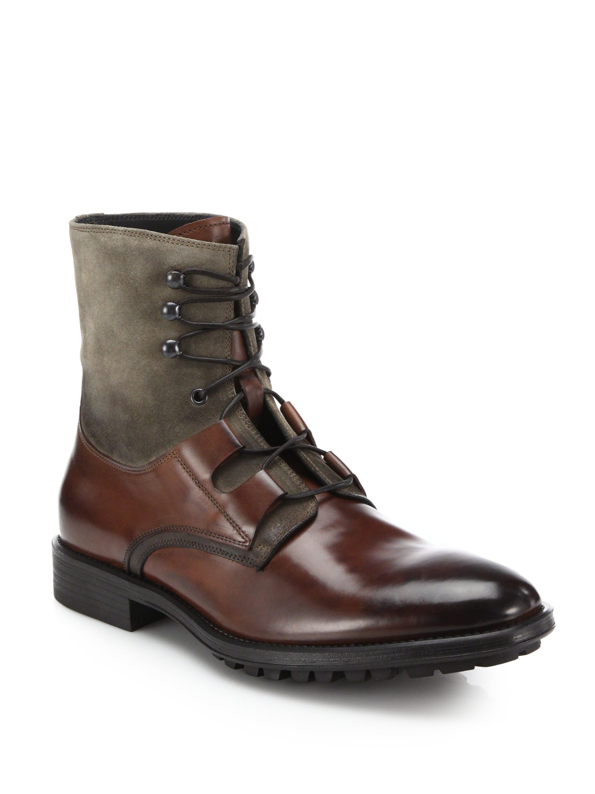 to boot mixed media boots in brown for cognac