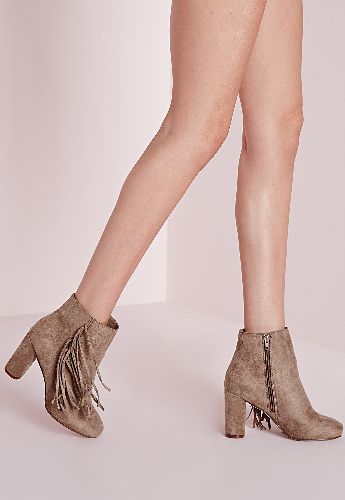 Missguided tassel side heeled ankle boots taupe in brown lyst - Missguided head office address ...