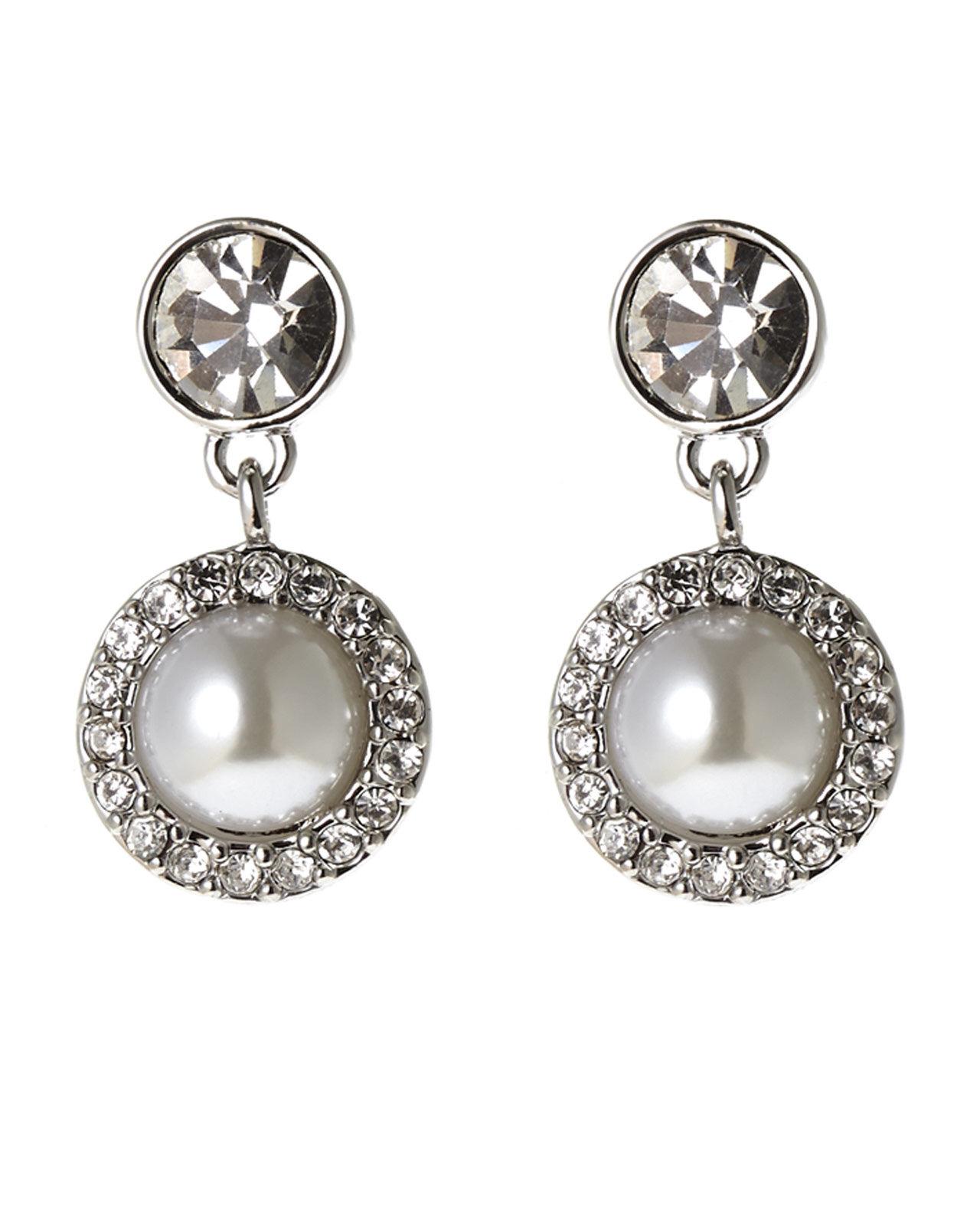 givenchy silver tone faux pearl earrings in metallic lyst