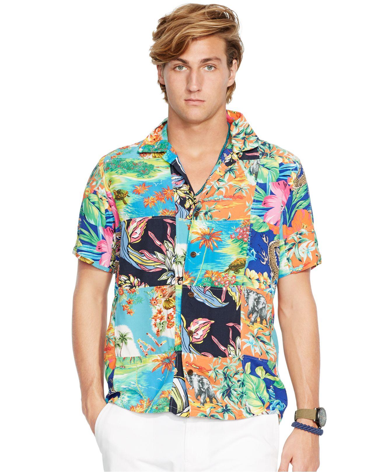 Patchwork Hawaiian Ralph Shirt Men For Multicolor Polo Lauren Camp Print CxBedo