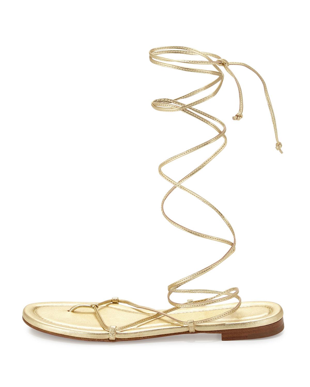 5ca2dae6e053 Lyst - Michael Kors Bradshaw Lace-up Gladiator Flat Sandal in Metallic