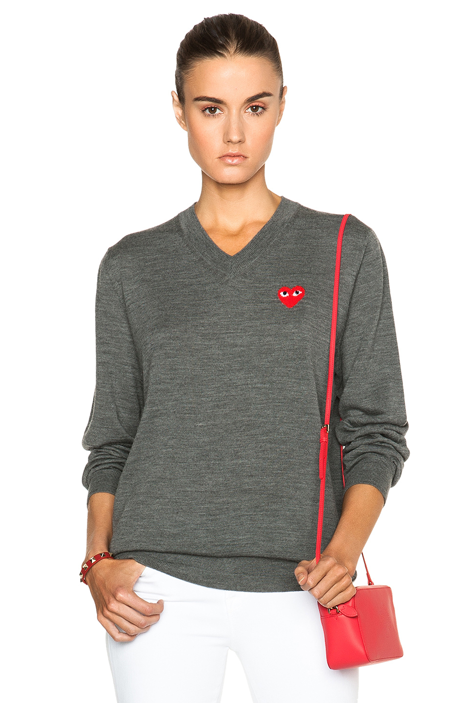 Lyst - Play Comme Des Garçons Wool Jersey Intarsia Red Emblem Sweater in Gray