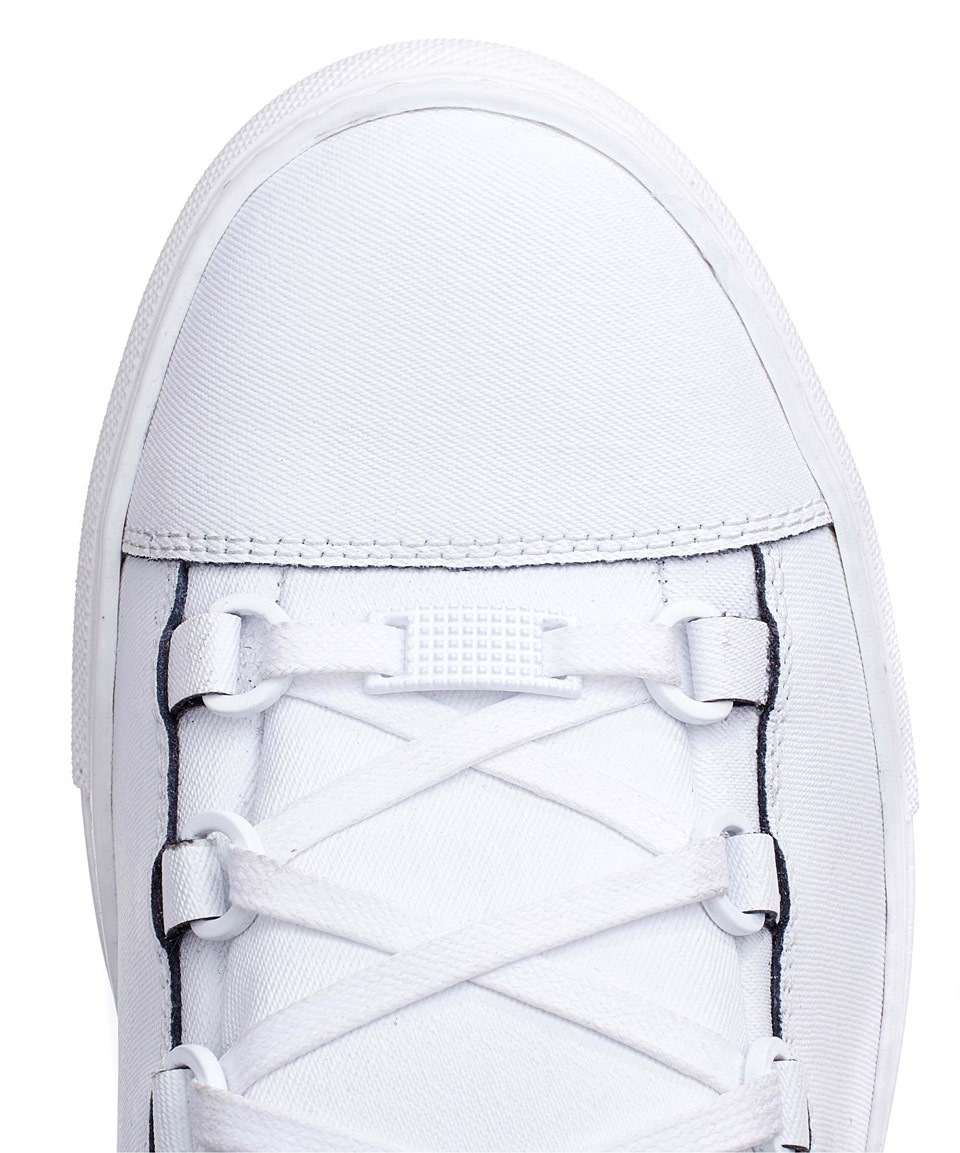 8e8b69b495de Lyst - Balenciaga White Arena Denim Effect Leather High-top Trainers ...