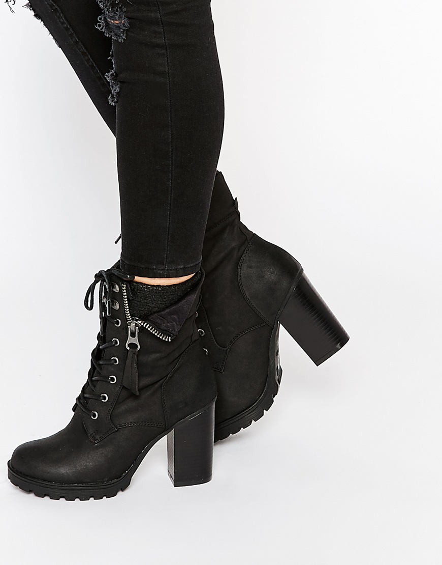 Lyst Call It Spring Yunia Black Grunge Sole Heeled Boots