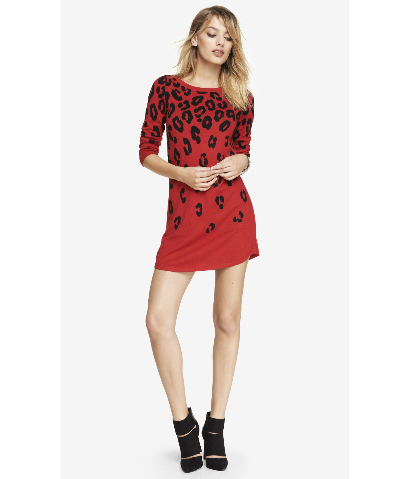 fe9cf9ebe6 Express Red Leopard Print Sweater Dress in Red - Lyst