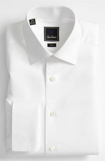 David donahue trim fit twill french cuff tuxedo shirt in for Tuxedo shirt french cuff