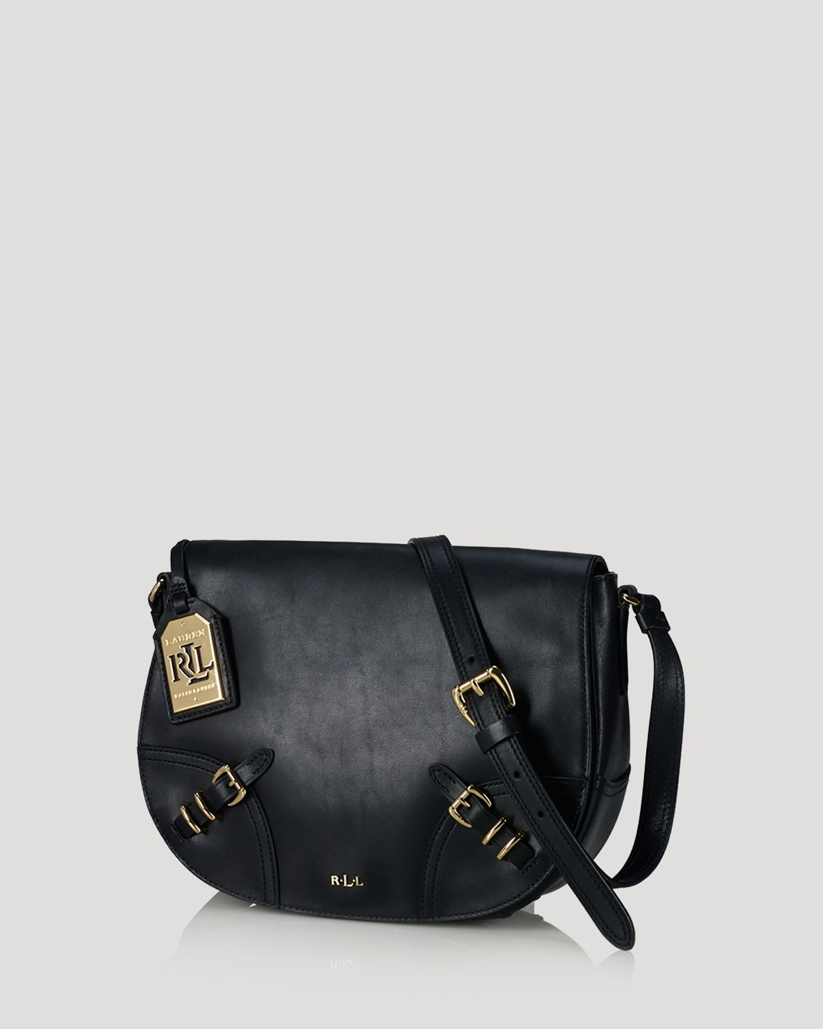568af5b1a6 Lyst - Ralph Lauren Lauren Crossbody Lauren Saddle Bag in Black