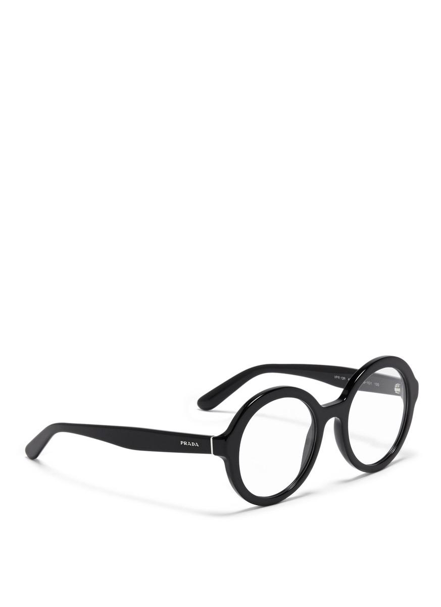 Prada Round Optical Glasses In Black For Men Lyst