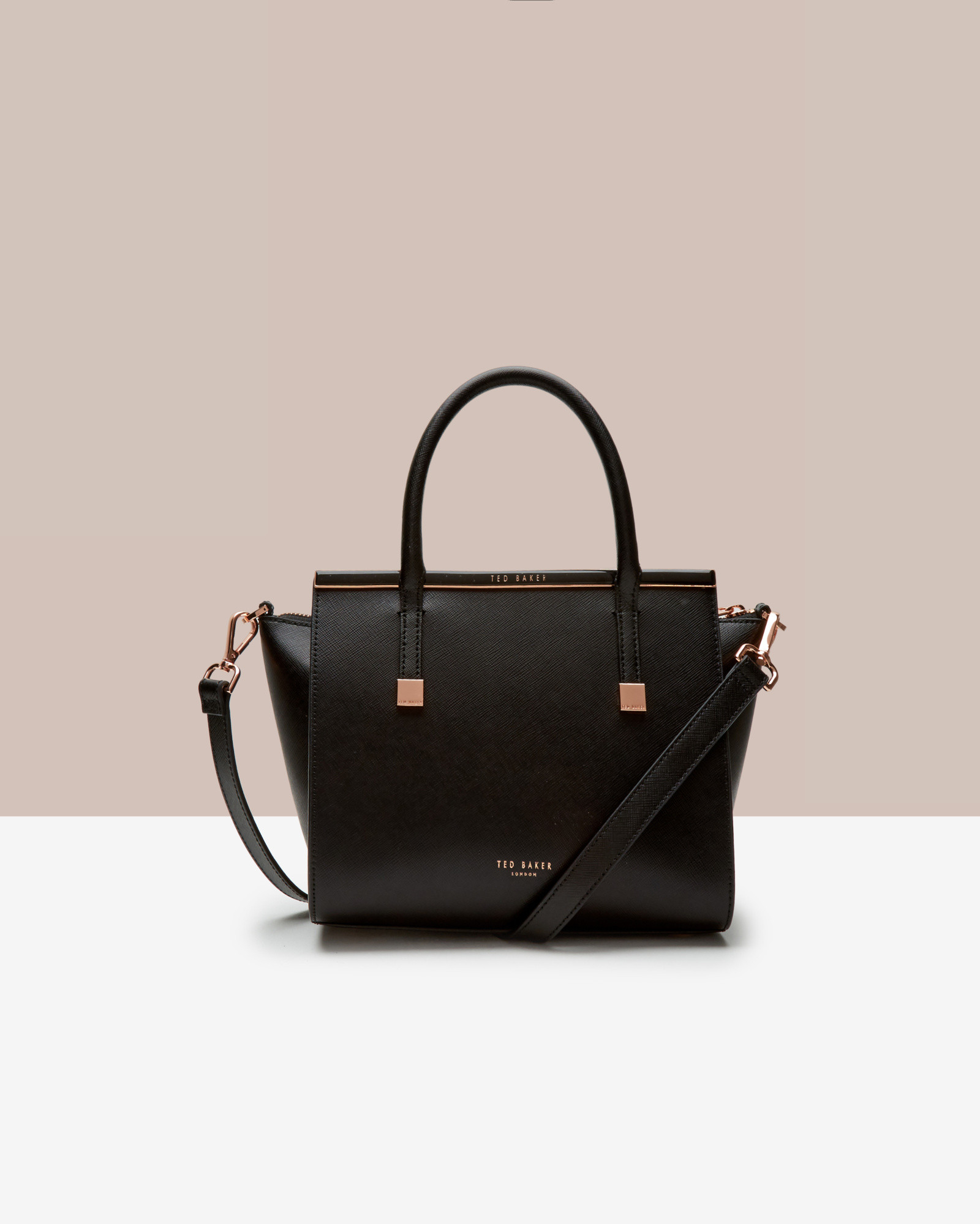 ted baker crosshatch leather tote bag in black lyst. Black Bedroom Furniture Sets. Home Design Ideas