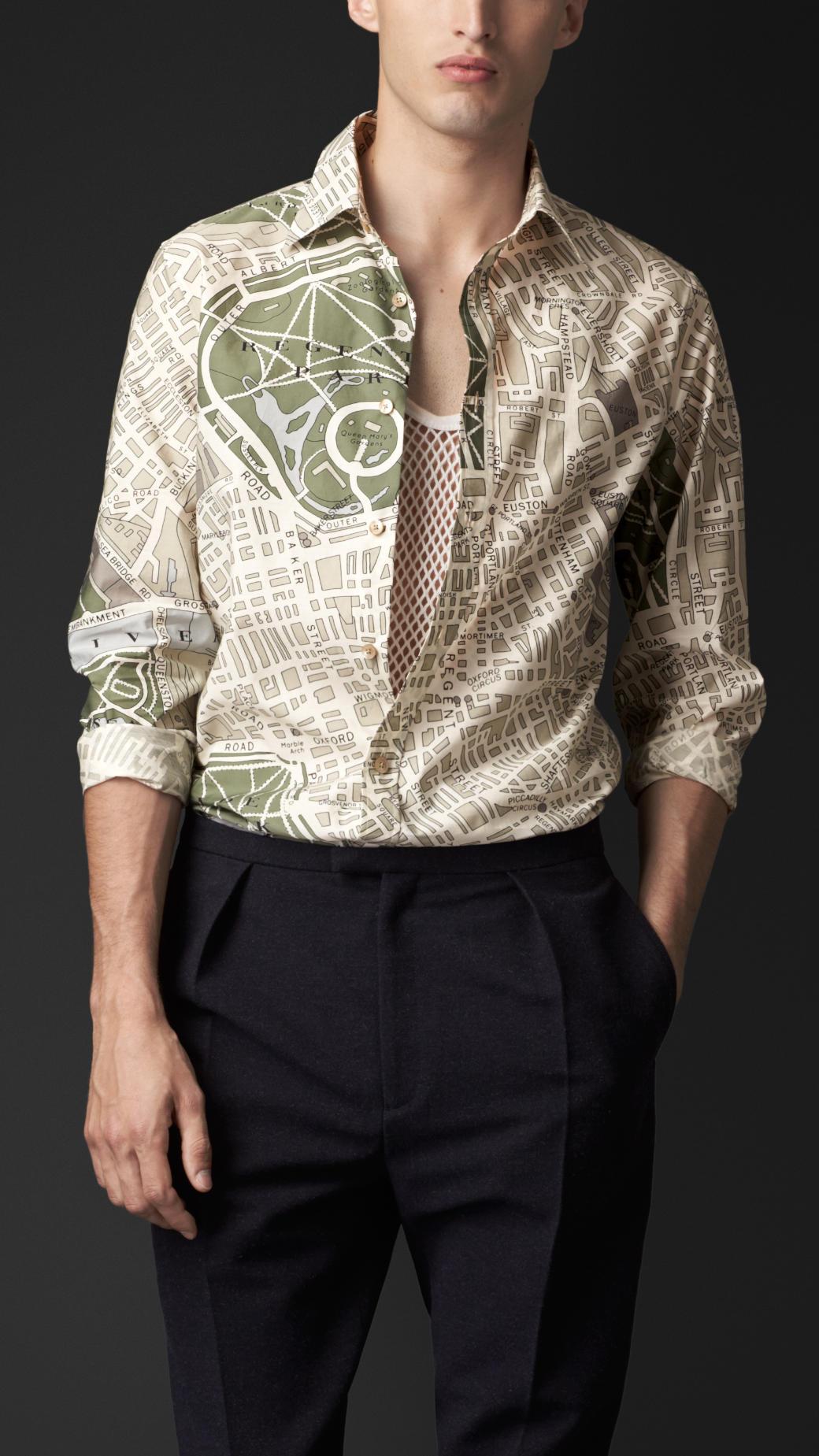 Lyst Burberry London Map Print Cotton Silk Shirt For Men