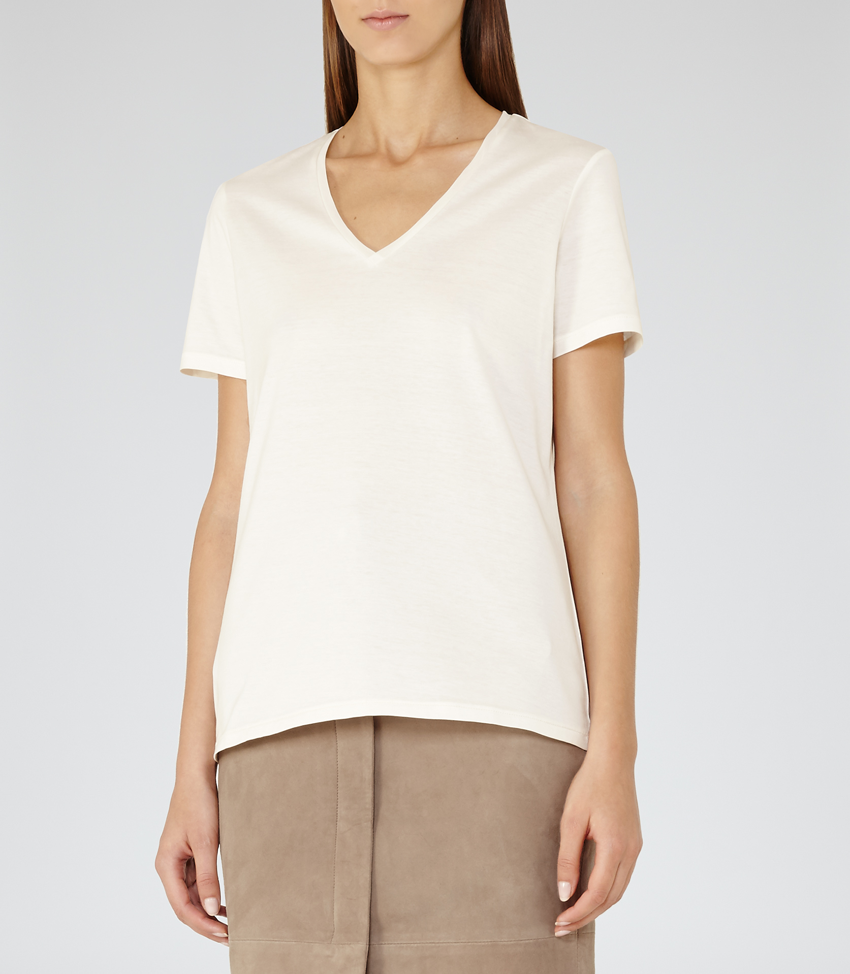 Reiss Ren V-neck T-shirt in White | Lyst