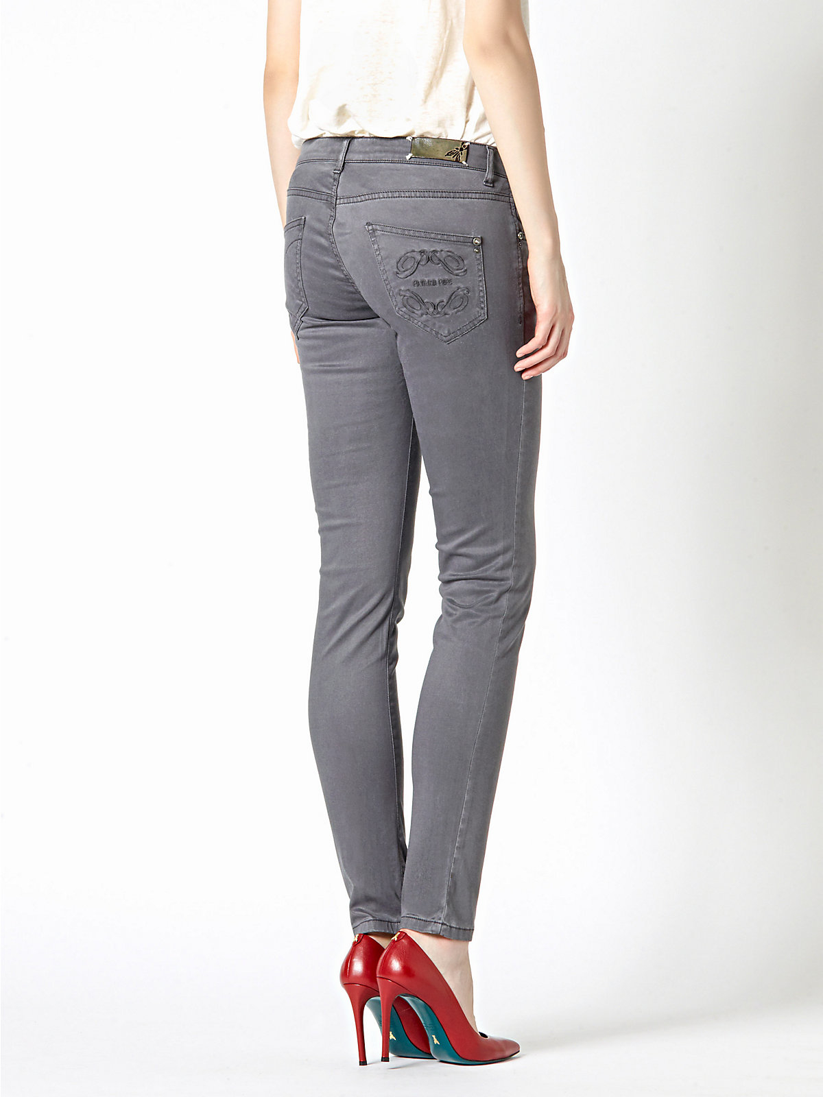 patrizia pepe skinny jeans in stretch cotton canvas in gray lyst. Black Bedroom Furniture Sets. Home Design Ideas