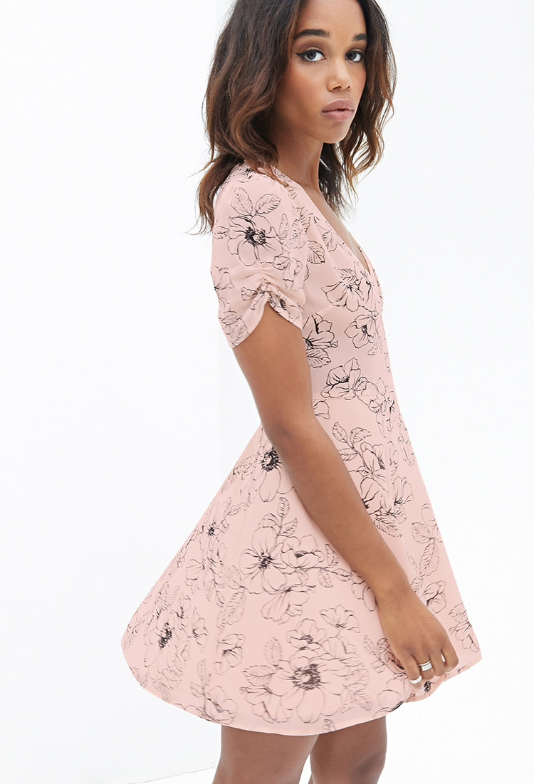 68f7836b06 Lyst - Forever 21 Floral Fit   Flare Dress in Pink
