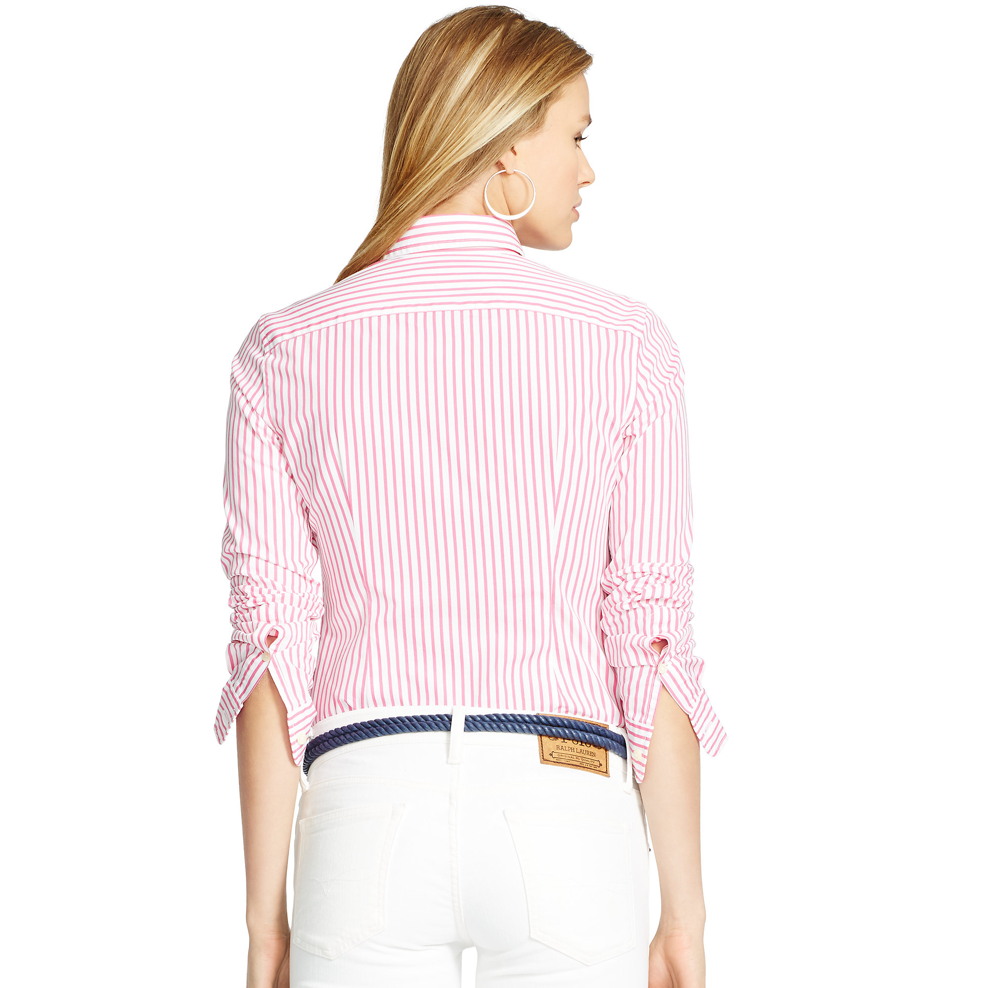 c581c850a Polo Ralph Lauren Custom-fit Striped Shirt in Pink - Lyst
