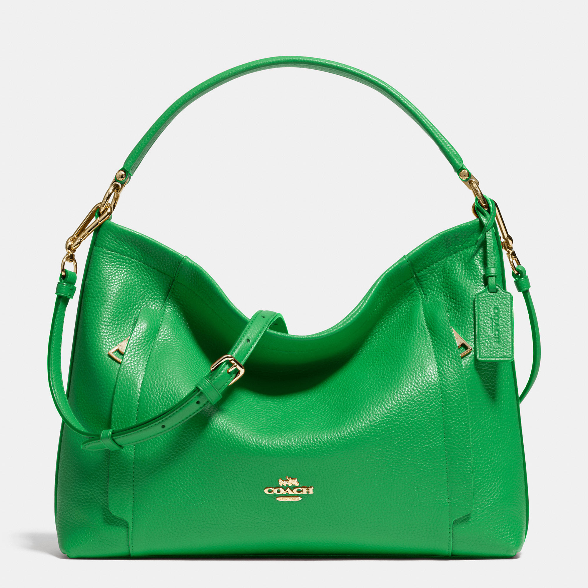 Coach Scout Hobo In Pebble Leather in Green | Lyst