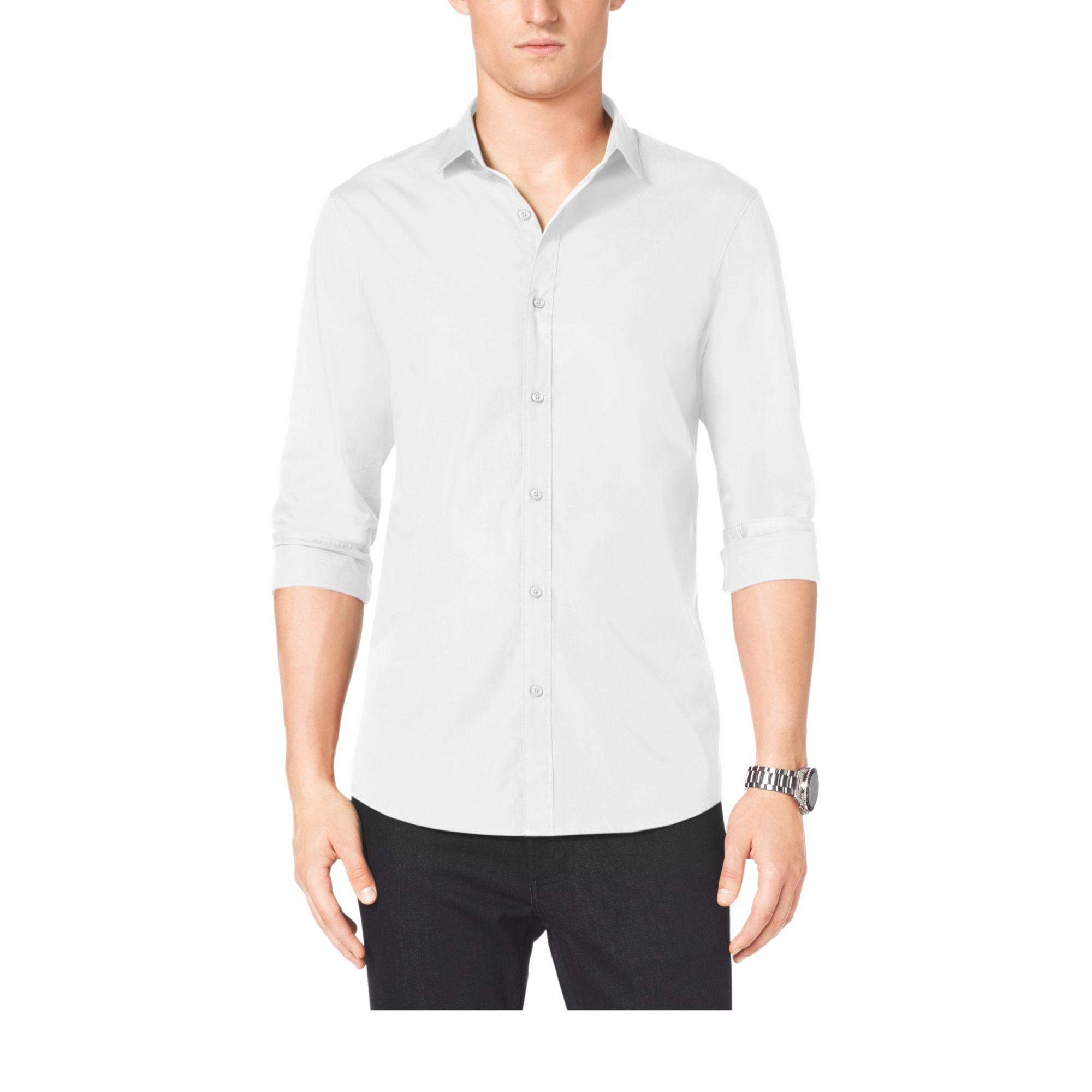 michael kors slim fit stretch cotton shirt in white for men lyst. Black Bedroom Furniture Sets. Home Design Ideas