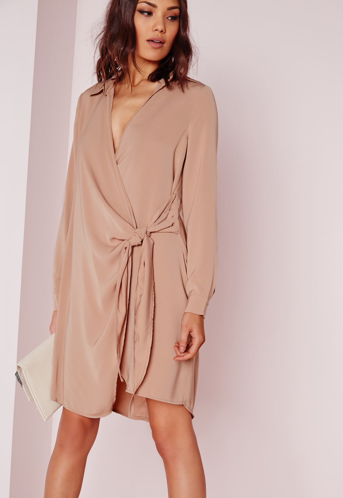 Missguided Crepe Wrap Shirt Dress Nude In Brown Lyst