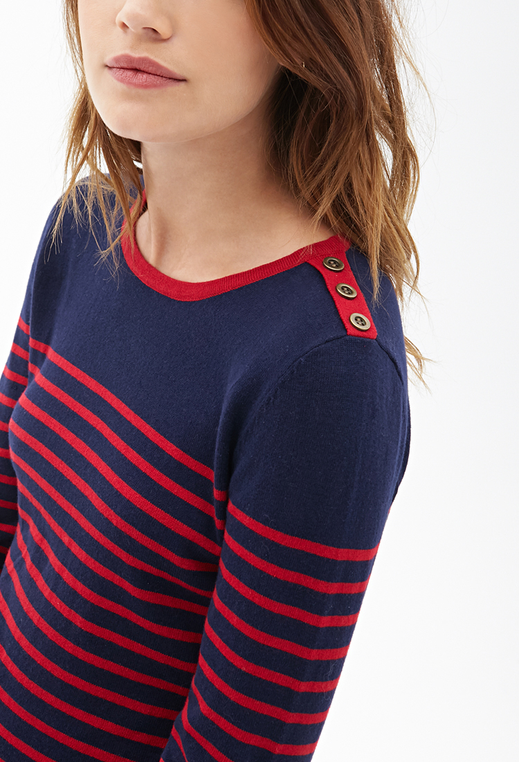 Lyst - Forever 21 Striped Knit Sweater in Blue 6daa094fa