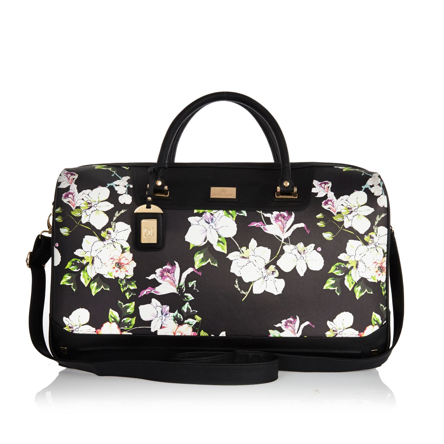 River island Black Floral Print Weekend Bag in Black | Lyst