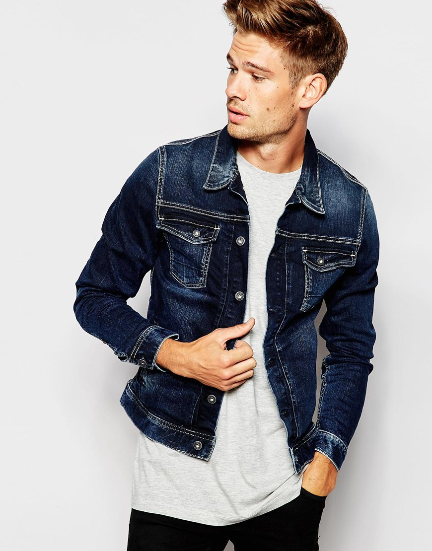 Lyst Pepe Jeans Pepe Denim Jacket Rooster Slim Fit Stretch Blue