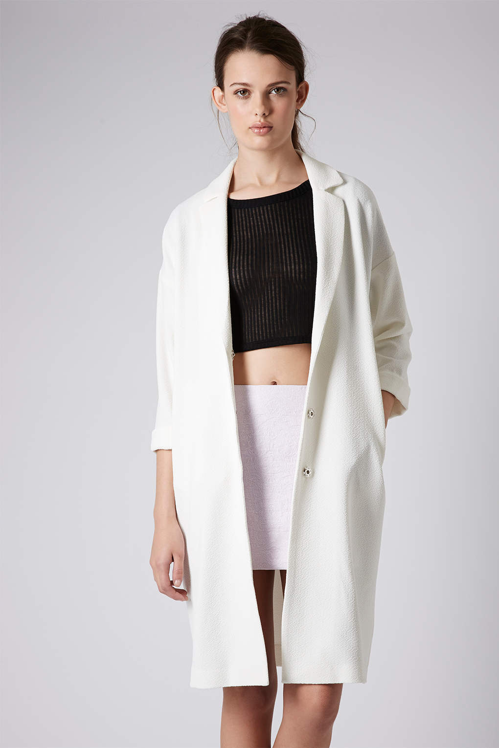 Topshop Textured Long Line Duster Coat in White | Lyst