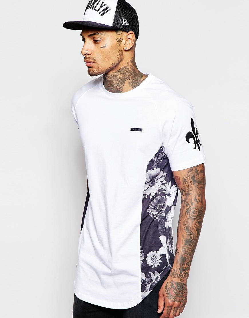 criminal damage longline t shirt with floral side print in white for men lyst. Black Bedroom Furniture Sets. Home Design Ideas