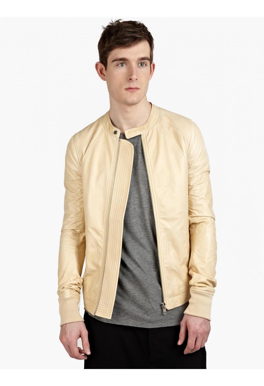 Rick Owens Men'S Bone Intarsia Leather Jacket in Beige for ...