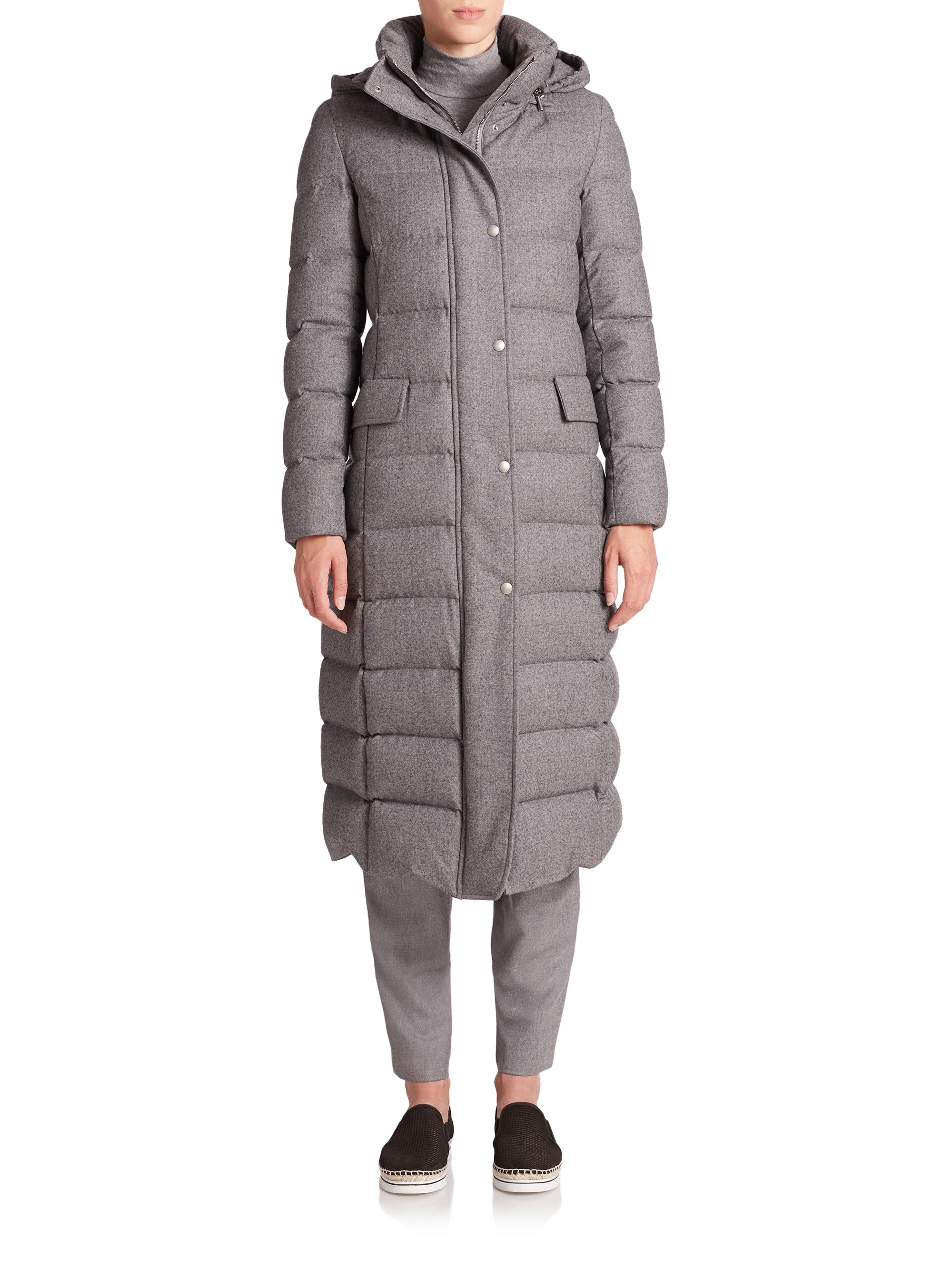 Lyst Akris Punto Long Flannel Wool Puffer Coat In Gray