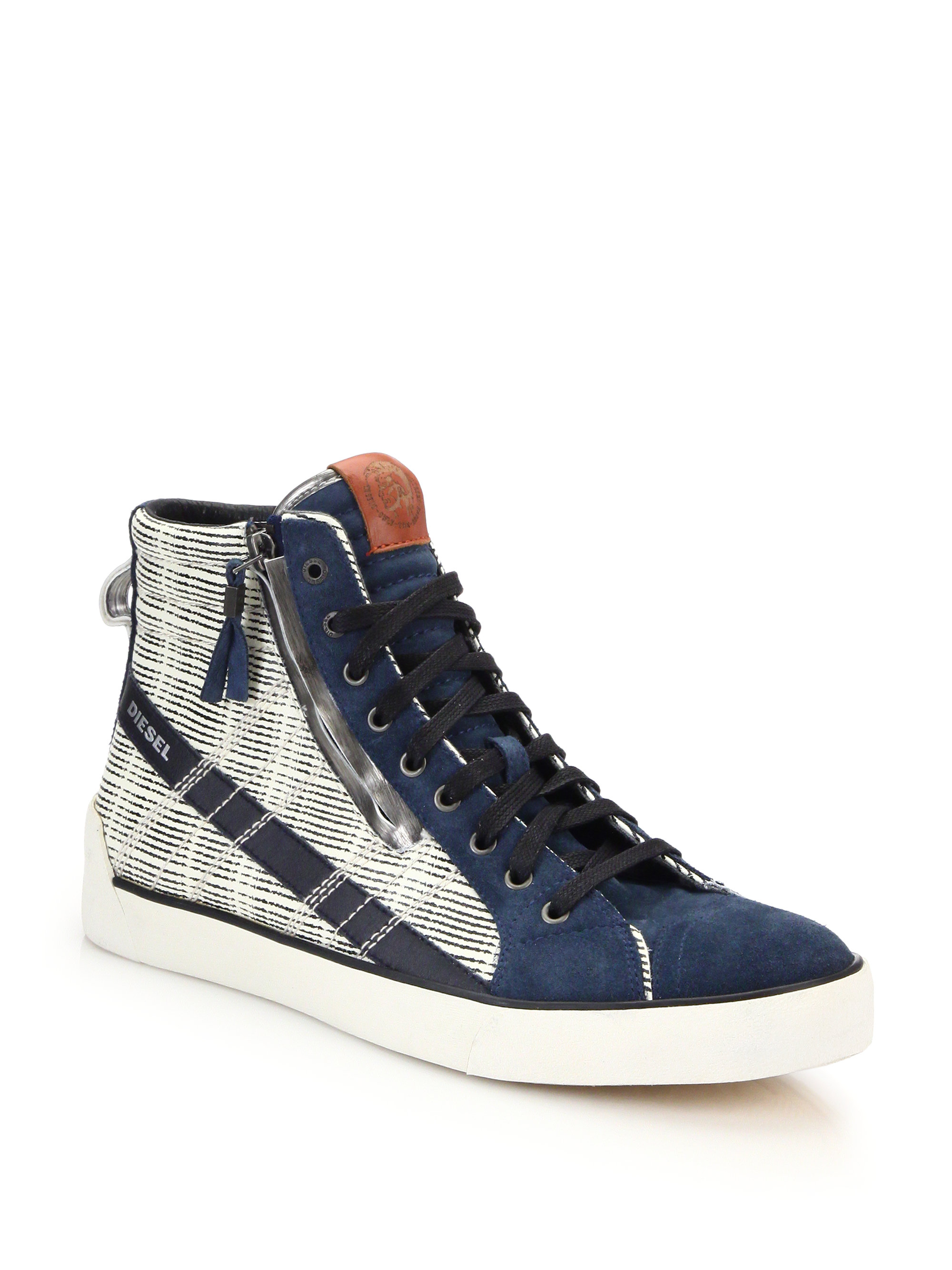 DIESEL D-string Leather & Suede High-top Sneakers in Blue ...