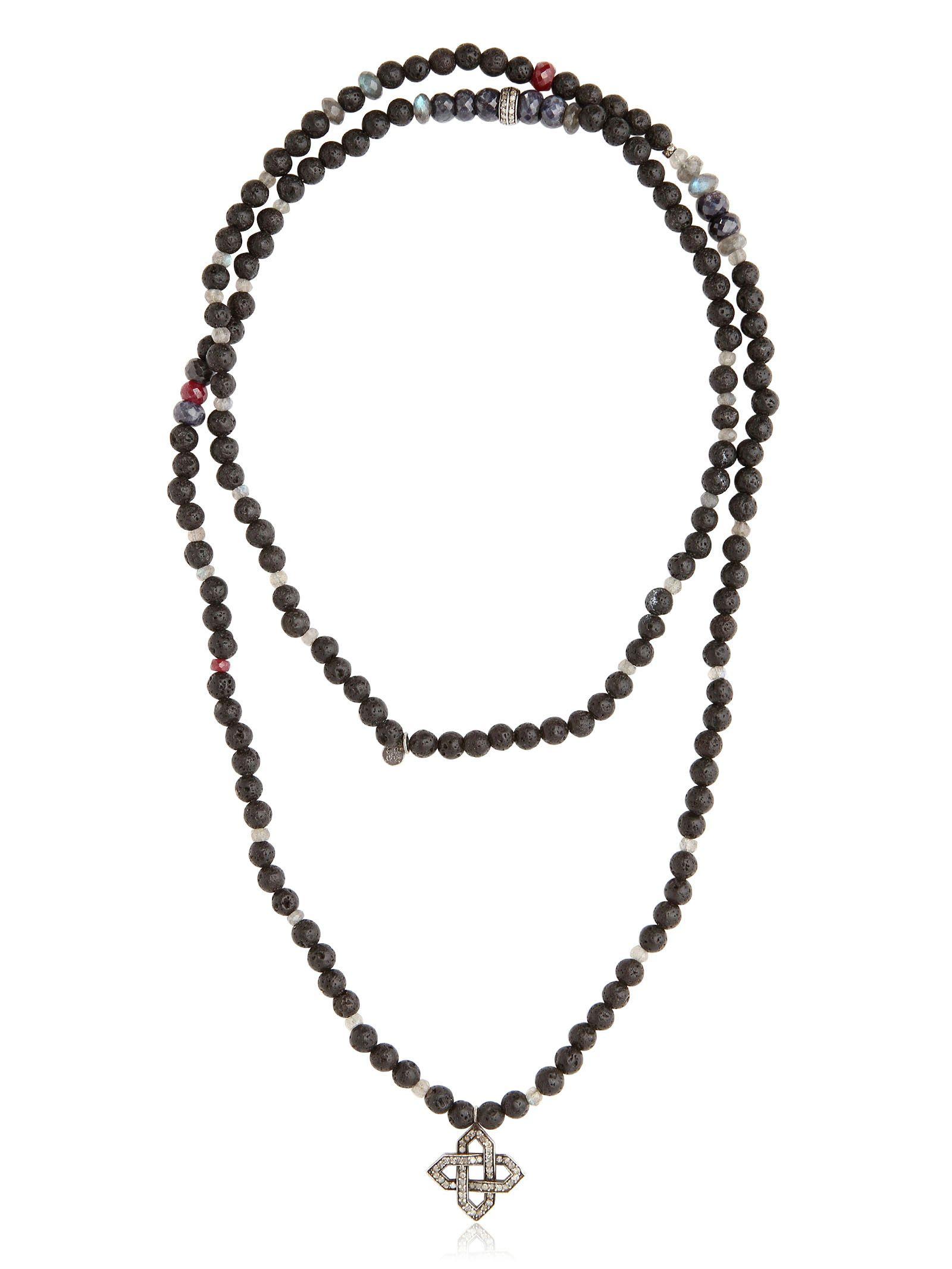Ocnarf sairutsa Ruby Sapphire Diamond Lava Necklace in Black for Men