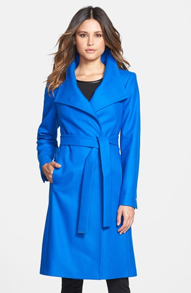 Lyst Ted Baker Nevia Stand Collar Belted Wrap Coat In Blue
