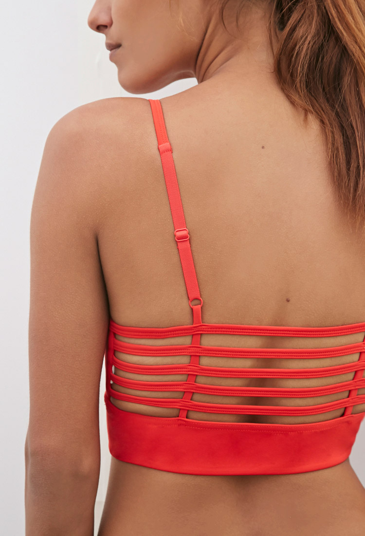 a8b65615598f91 Forever 21 Medium Impact - Caged-back Sports Bra in Red - Lyst
