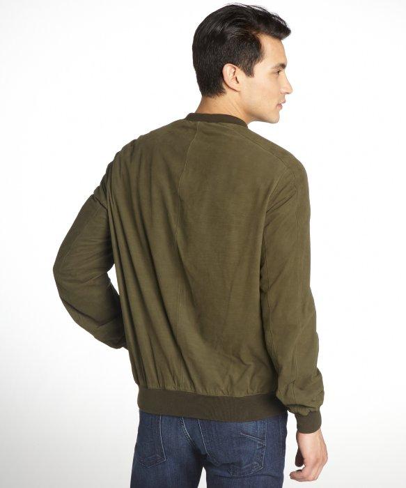 Gucci Dark Green Suede Zip Front Bomber Jacket in Green for Men | Lyst