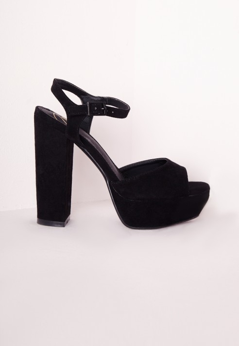 Missguided Platform Block Heel Sandal Black in Black | Lyst