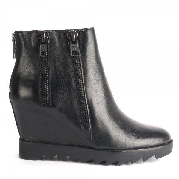 Ash Iggy Leather Wedge Anke Boots in Black