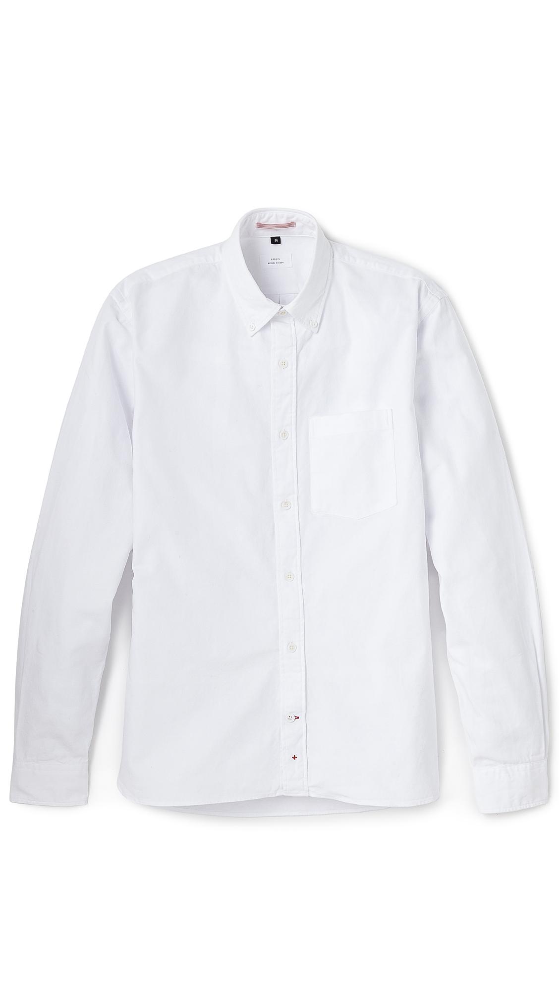 Apolis oxford button down shirt in white for men lyst for White button down oxford shirt