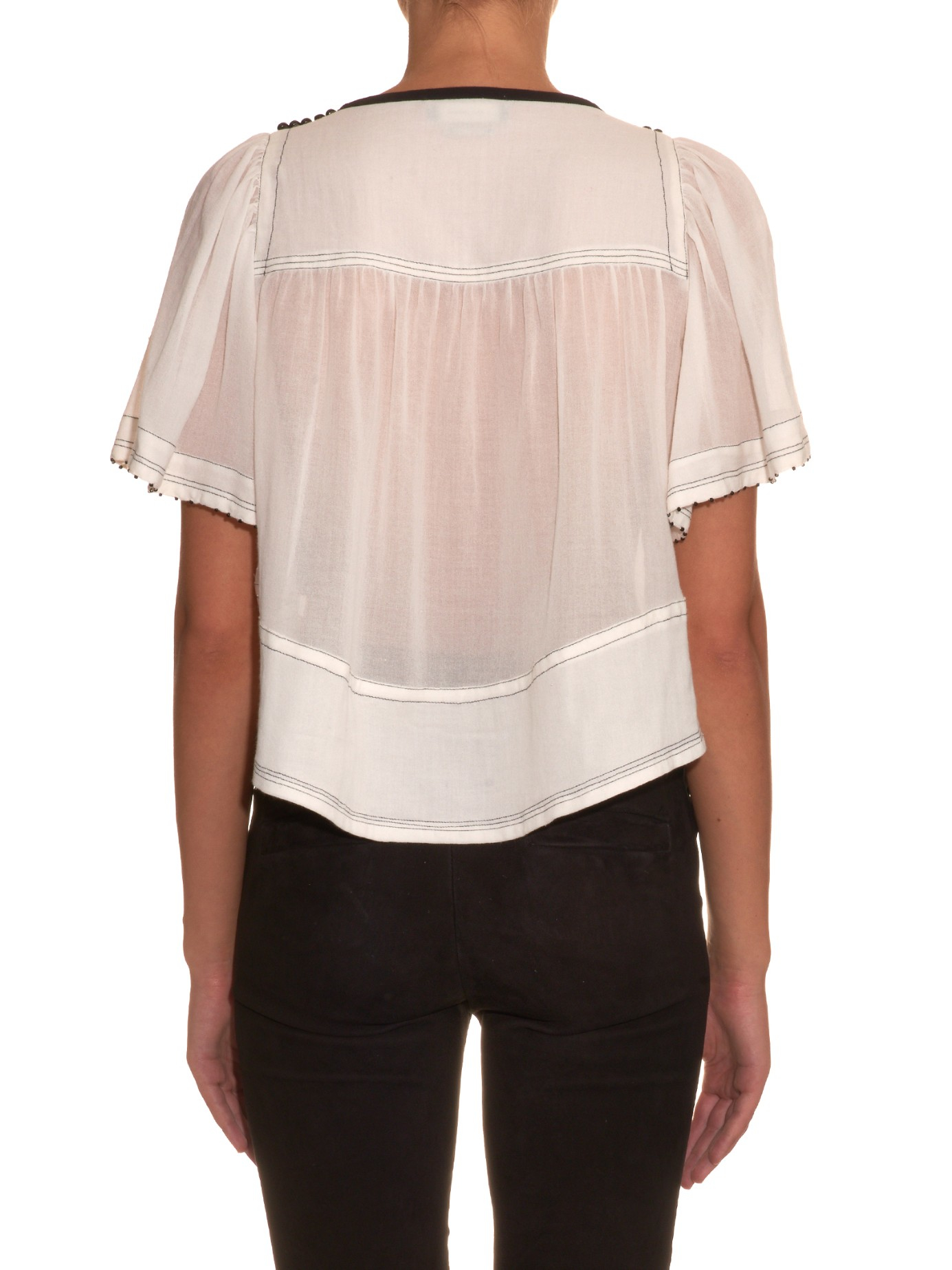 89ccd708386ce Lyst - Isabel Marant Pilar Lightweight-cotton Top in White