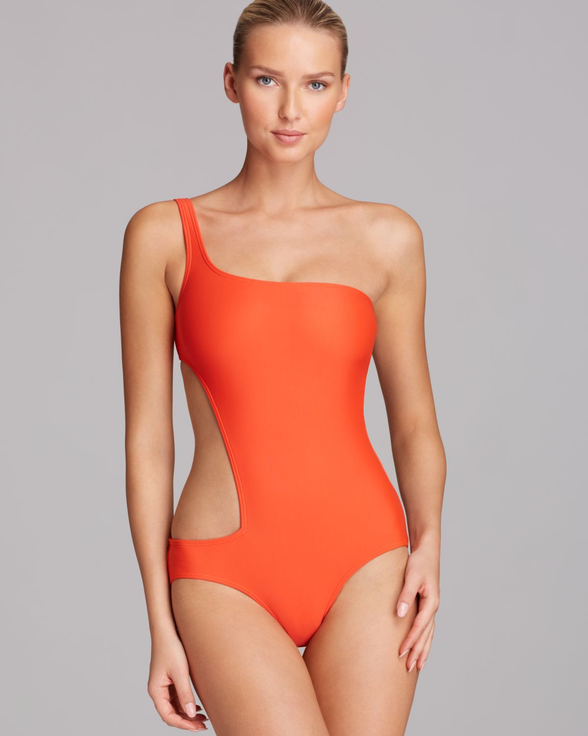 4544bf7502afa DKNY Solid One Shoulder Asymmetrical Cut Out One Piece Swimsuit in ...